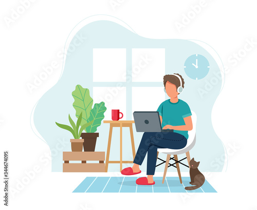 Fototapeta Work from home concept, man working from home sitting on a chair, student or freelancer. Cute vector illustration in flat style obraz