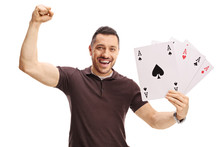 Happy Man Holding Four Playing...