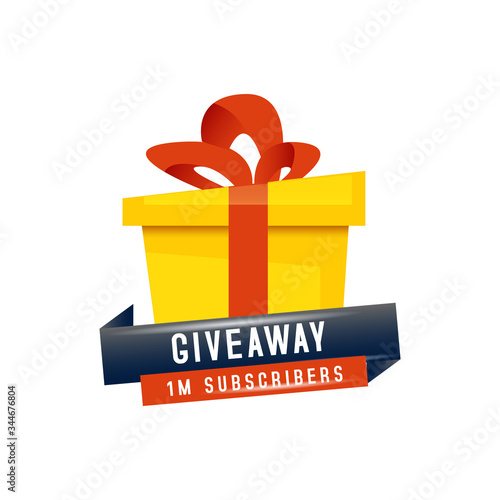 Giveaway 1m subscribers poster and banner template design for social media post Fototapeta