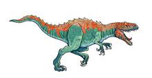 Carnivorous Dinosaur - Allosaurus. Dino Attack Isolated Drawing.