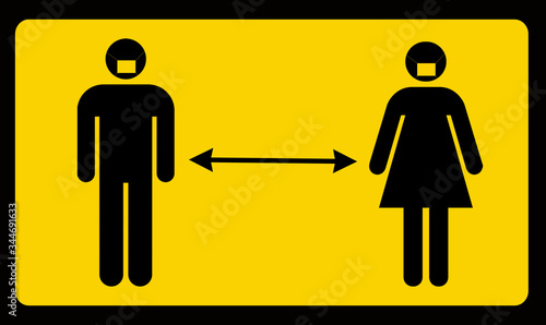 Photo Man Woman Social Distancing Separation Apart Concept Graphic Street Sign