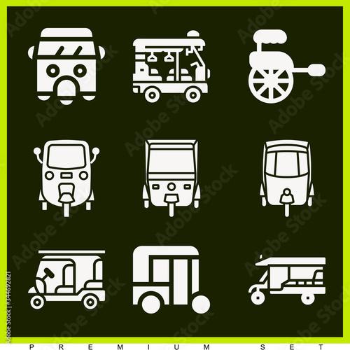Set of 9 rickshaw filled icons Tapéta, Fotótapéta