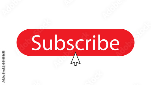 The subscribe button isolated on white background with cursor in the center Fototapeta