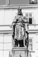 Statue Of Charles IV At Charles Bridge, Old Town Of Prague, Czech Republic