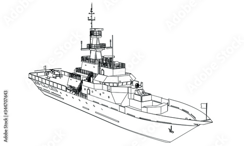 Cuadros en Lienzo Military ship outline vector