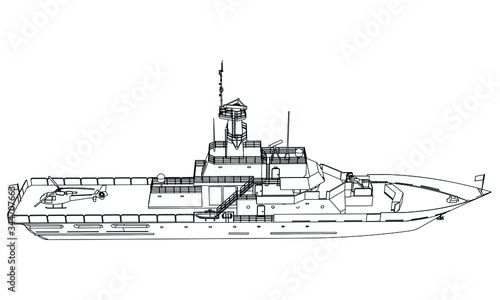 Fotografiet Military ship outline vector