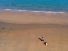 ドローンで空撮した夏の海岸で遊んでいる人々