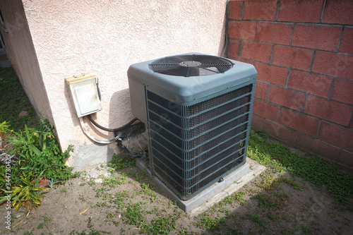Home air conditioner unit outdoors Canvas Print