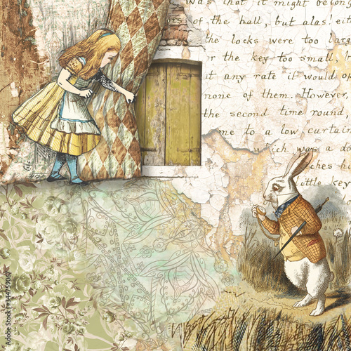 Alice in Wonderland collaged scrapbooking paper design Wallpaper Mural