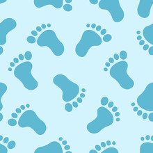 Foot Print Seamless Pattern On...