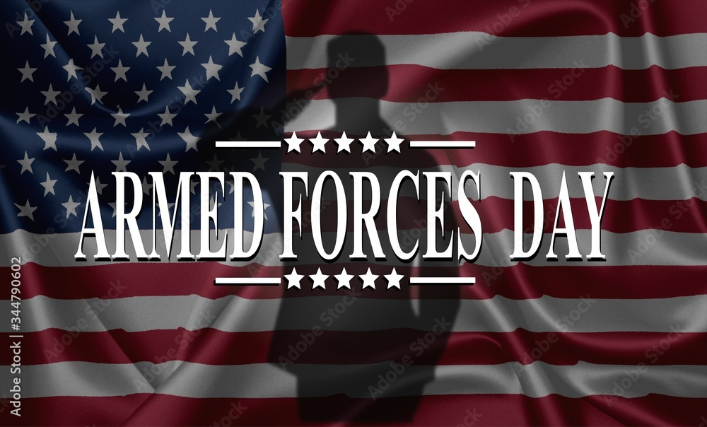 Fototapeta ARMED FORCES DAY , Poster with USA flag