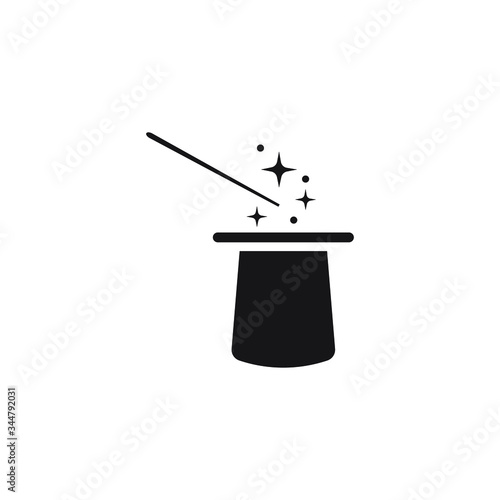 Wand magic hat icon design isolated on white background Wall mural