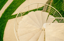 Top View Of Spiral Stairway In...