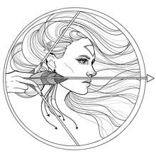 Black And White Girl Sagittarius Horoscope Zodiac Bow And Arrow
