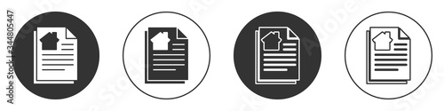 Fototapeta Black House contract icon isolated on white background. Contract creation service, document formation, application form composition. Circle button. Vector Illustration obraz