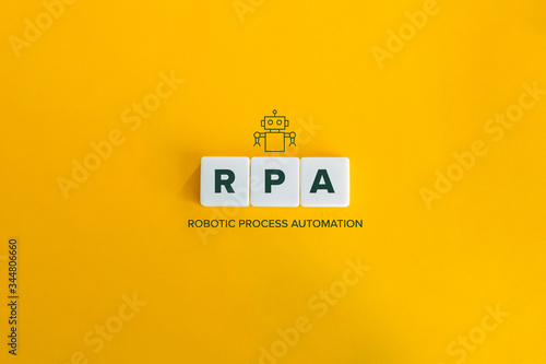 Fototapeta Robotic Process Automation (RPA) banner and data automation concept. Block letters and robot icon on bright orange background. Minimal aesthetics. obraz