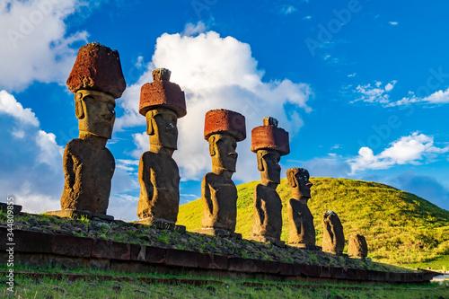 Ahu Nau Nau moai platform in Rapa Nui bottom view Canvas Print