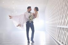 Happy Newlywed Couple Dancing ...