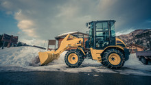 Yellow Car Plow For Sweeping S...