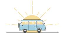 Camper Car In Sunset. Summer F...