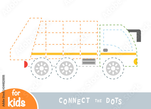 Obraz na plátne Connect the dots, game for children, Garbage truck