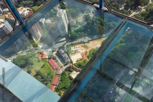 View down from the sky box of the Kuala Lumpur television tower Wallpaper Mural