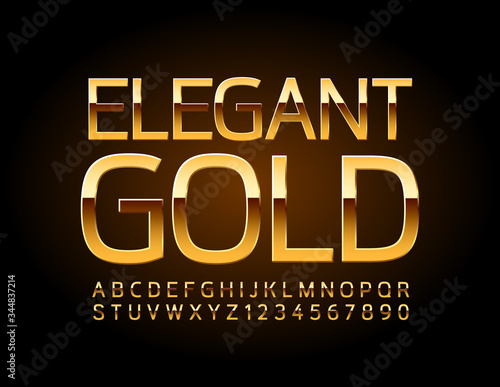 Valokuva Vector Elegant Gold Alphabet Letters and Numbers