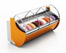 Ice Cream Refrigerator Isolated On White Background. 3D Illustration