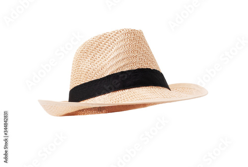 Fotografie, Obraz Vintage straw hat for women fashion on summer isolated on withe background with