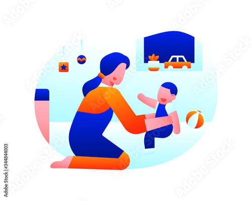 Fotomural A Baby Sitter Is Playing And Caring For A Toddler