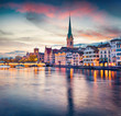 canvas print picture - Dramatic evening view of Fraumunster Church. Colorful autumn cityscape of Zurich, Switzerland, Europe. Sunset on Limmat River. Traveling concept background..