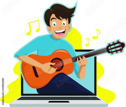 A Man teaching guitar in online class illustration Wallpaper Mural