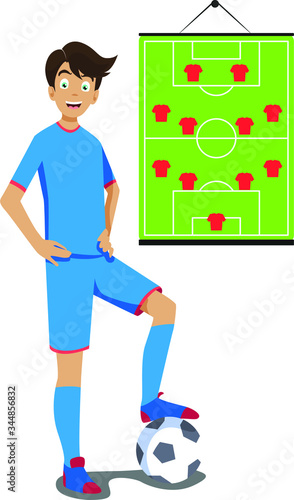 A Man teaching sports in online class illustration Canvas Print