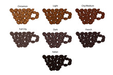 Various Coffee Bean Roast Level. Vector Clipart. Set Of Realistic Design Elements On A White Background.