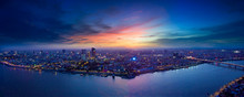 Phnom Penh Sunset, Drone View
