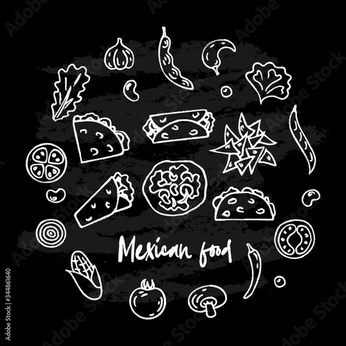Hand drawn Mexican traditional food set with ingredients, burrito, tacos, quesadillas, nachos isolated on black chalk board background. Vector illustration for menu, poster, web.