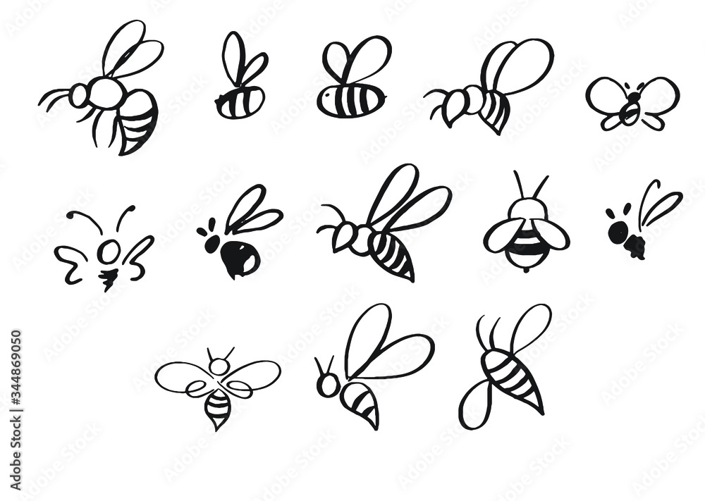 Fotografie, Obraz Selection of hand-drawn bees in different styles