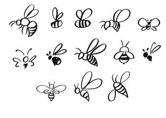 Izbor ručno nacrtanih pčela u različitim stilovima