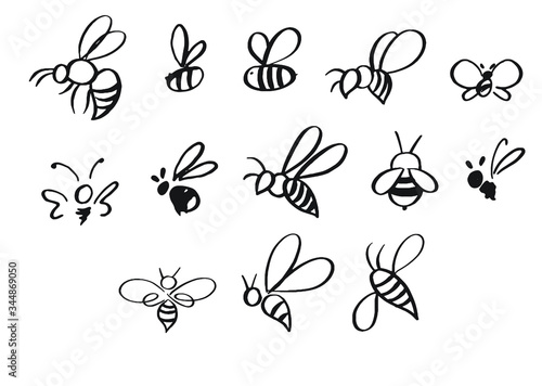 Fotografie, Tablou Selection of hand-drawn bees in different styles