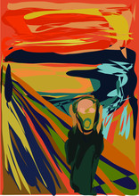 Scream Abstract Vector Norway Artist World Orange Painting Screaming Scared Edvard Much Style