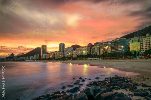 Photo rio de janeiro skyline sunset
