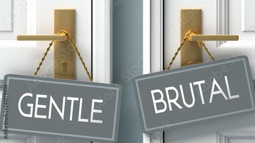 brutal or gentle as a choice in life - pictured as words gentle, brutal on doors Fototapet