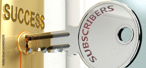 Subscribers and success - pictured as word Subscribers on a key, to symbolize th Fototapeta