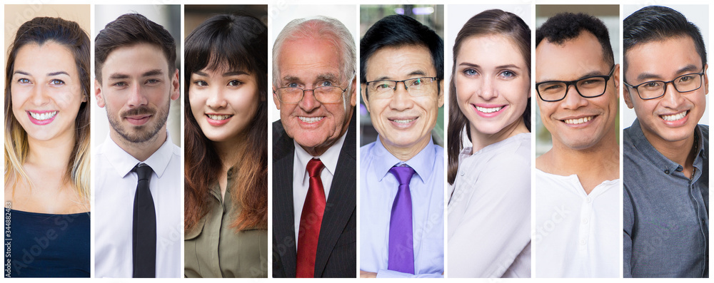 Fototapeta Happy company employees corporate portrait set. Smiling men and women of different ages and races multiple shot collage. Business people and job concept