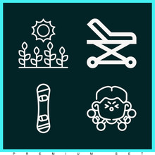 Set Of 4 Rider Lineal Icons