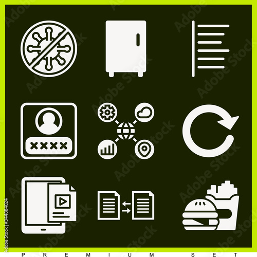 Photo Set of 9 aggregation filled icons