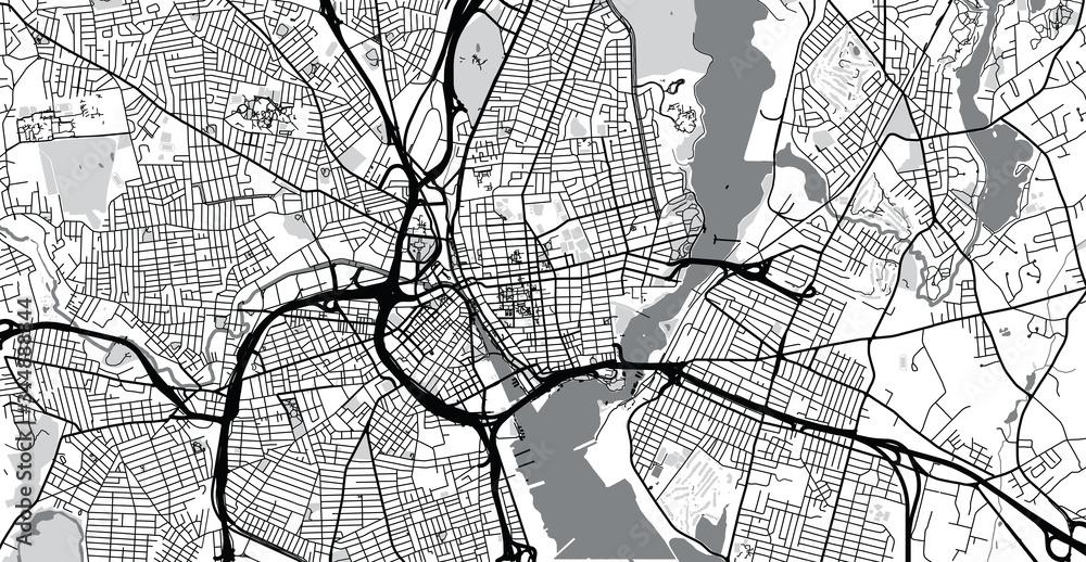 Fototapeta Urban vector city map of Province, USA. Rhode Island state capital
