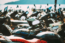 Motorbikes, Motorcycles Scooters Parked In Row In City Street. Close Up Of Details. Bikes