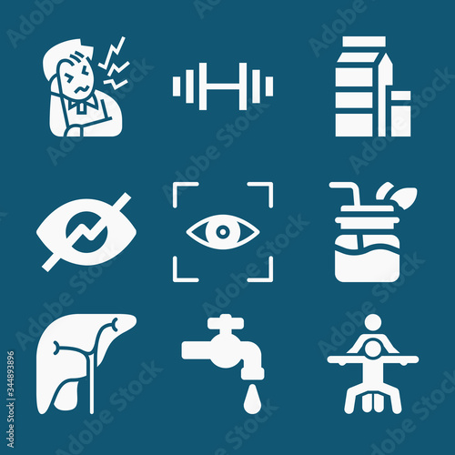 Set of 9 absorption filled icons Wallpaper Mural