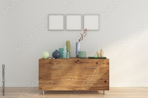 Valokuva Minimal interior room with sideboard , white wall and picture frame
